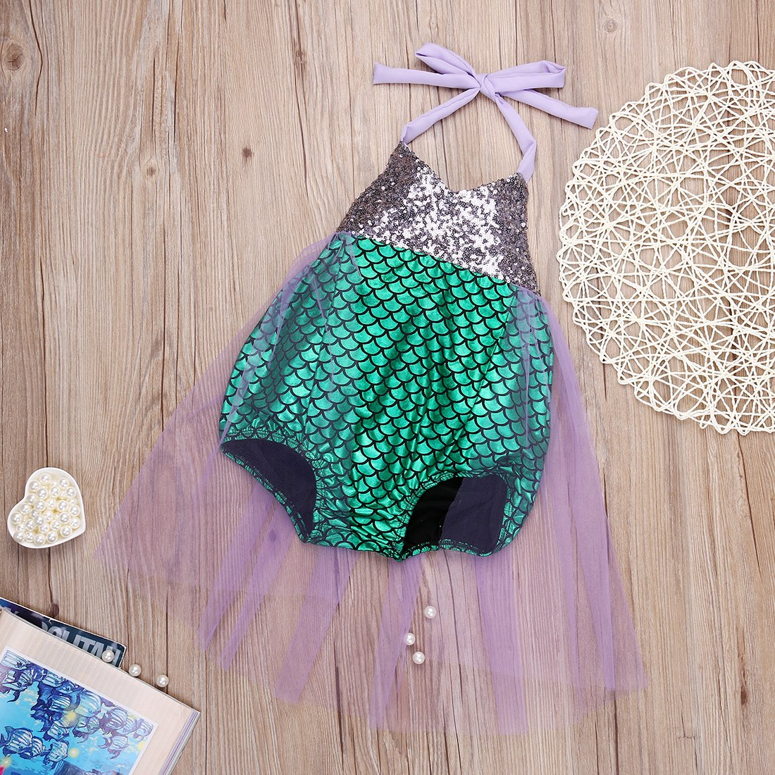 64580d9a32 Amazon.com: Baby Girls kids Mermaid Sequins Bikini Suit Swimsuit Costume  Beachwear: Clothing