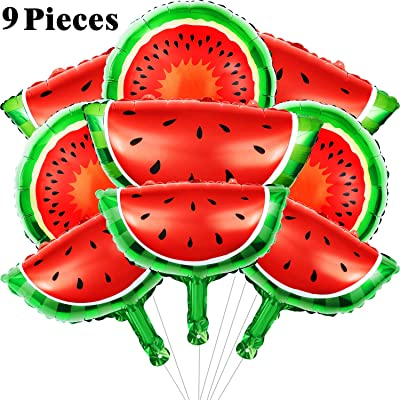 Gejoy 9 Pieces Watermelon Foil Balloons Watermelon Mylar Balloons Cartoon Fruit Foil Balloons for Summer Themed Birthday Baby Shower Wedding Party Decoration Supplies: Toys & Games