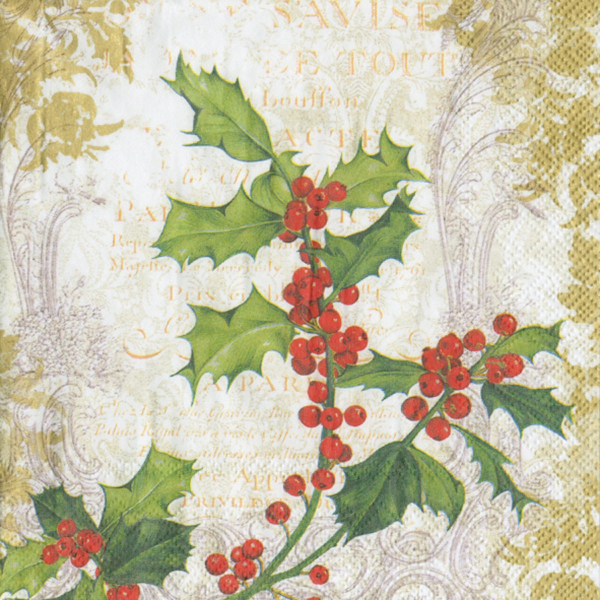 Holly Collage On Gold 20-Count Ideal Home Range Luncheon Decorative Paper Napkins