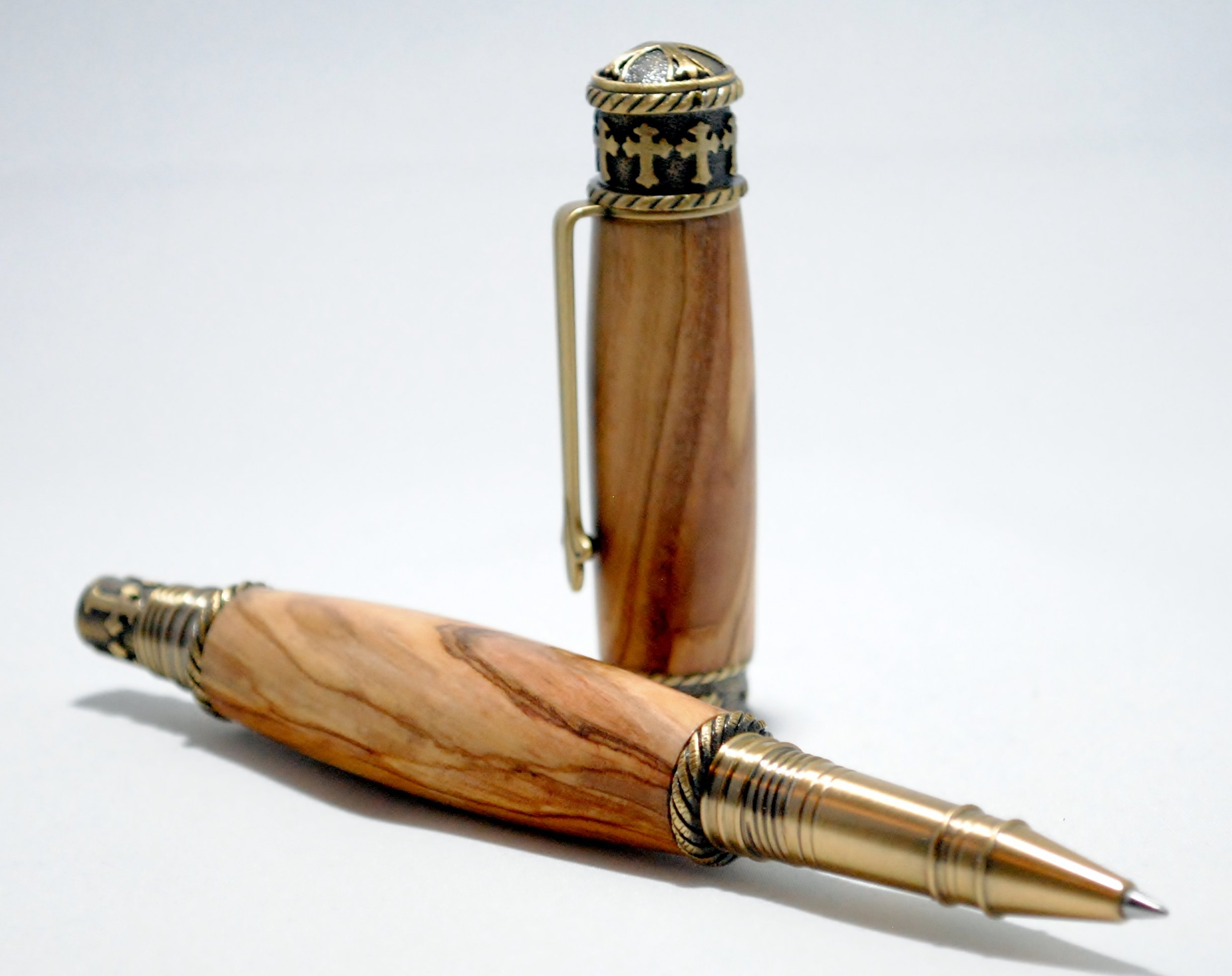 Faith Hope Love Rollerball Pen in Bethlehem Olivewood with Antique Brass Finish