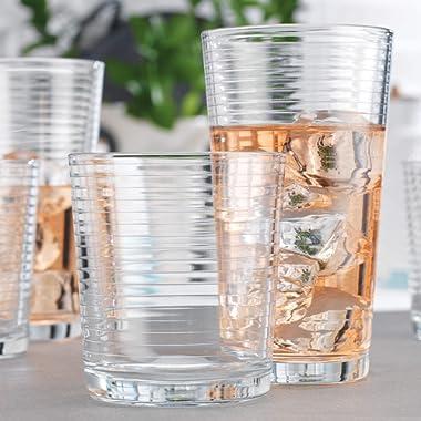 Set of 16 Heavy Base Ribbed Durable Drinking Glasses Includes 8 Cooler Glasses(17oz) and 8 Rocks Glasses(13oz), 16-piece Elegant Glassware Set
