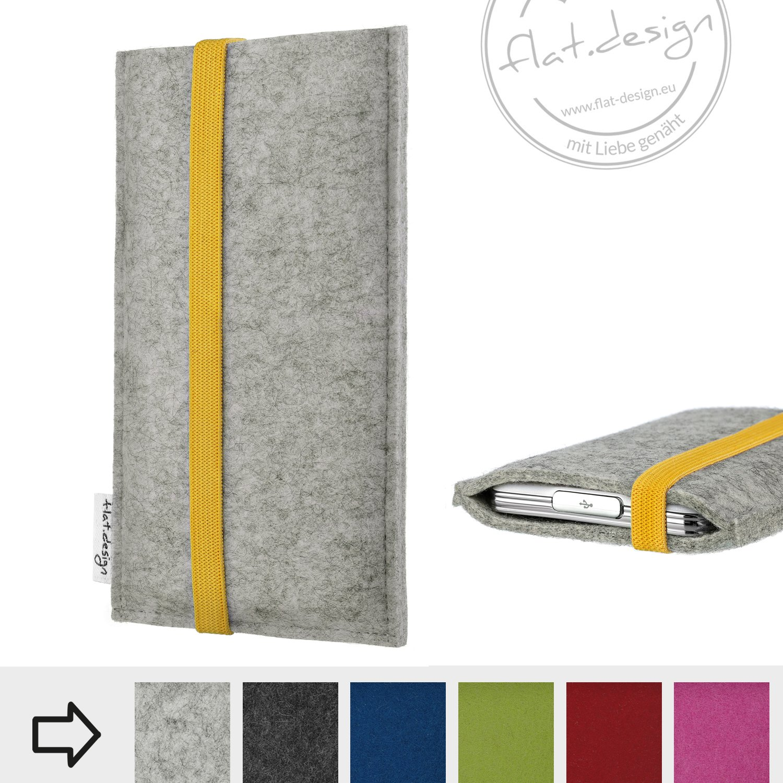 eBook Reader Schutzhülle COIMBRA mit gelbem Gummiband-Verschluss (hellgrau) - Maßanfertigung für alle eReader z.B. Kindle, Tolino, Medion, Kobo, Sony, Pocketbook,