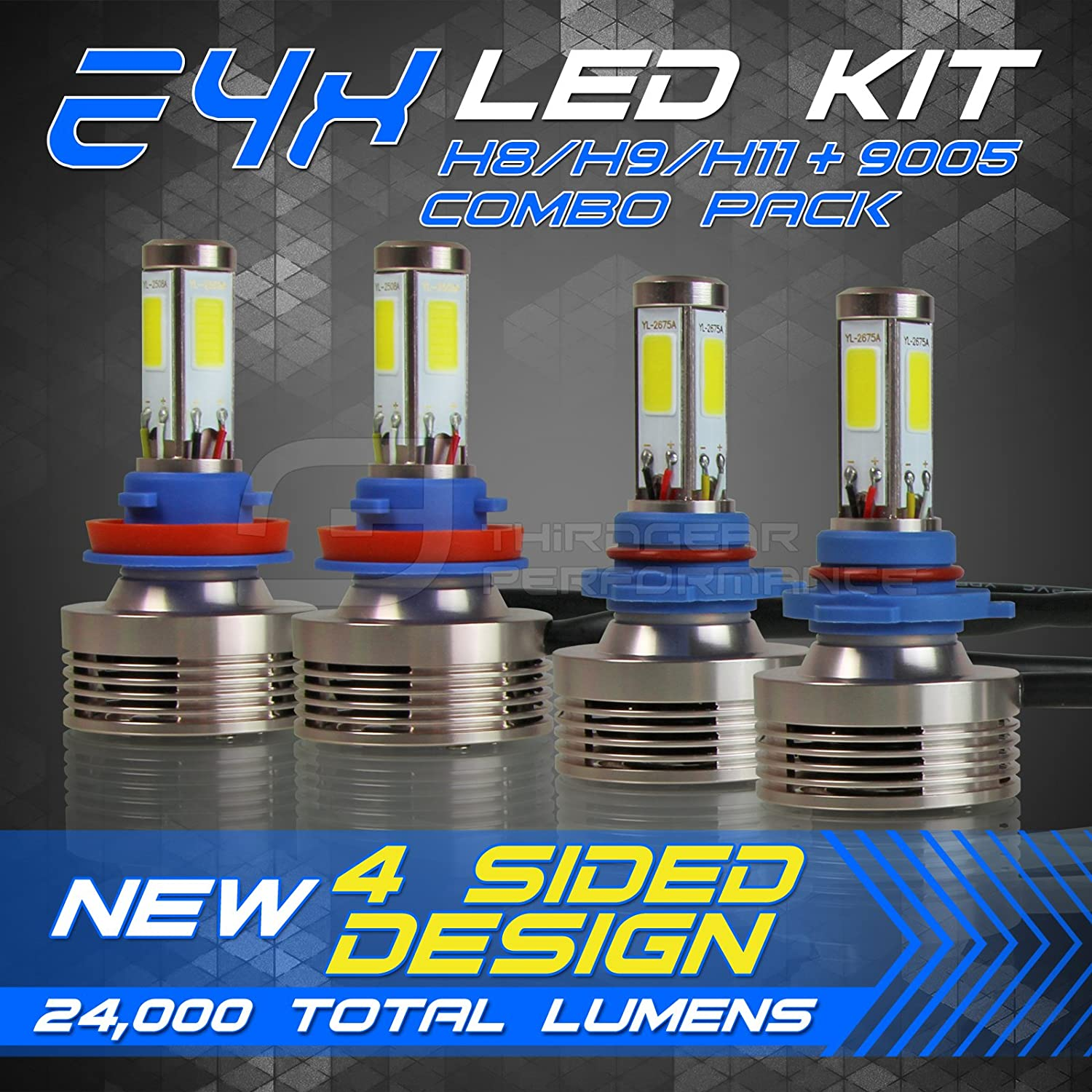 9005//HB3 9005//HB3 Lumileds Luxeon-C//MZ LED Automobile Headlight Bulbs with Advanced LED Chip and All-in-One Conversion kit-80W//12,000LM//6,000K With 3 Years Warranty