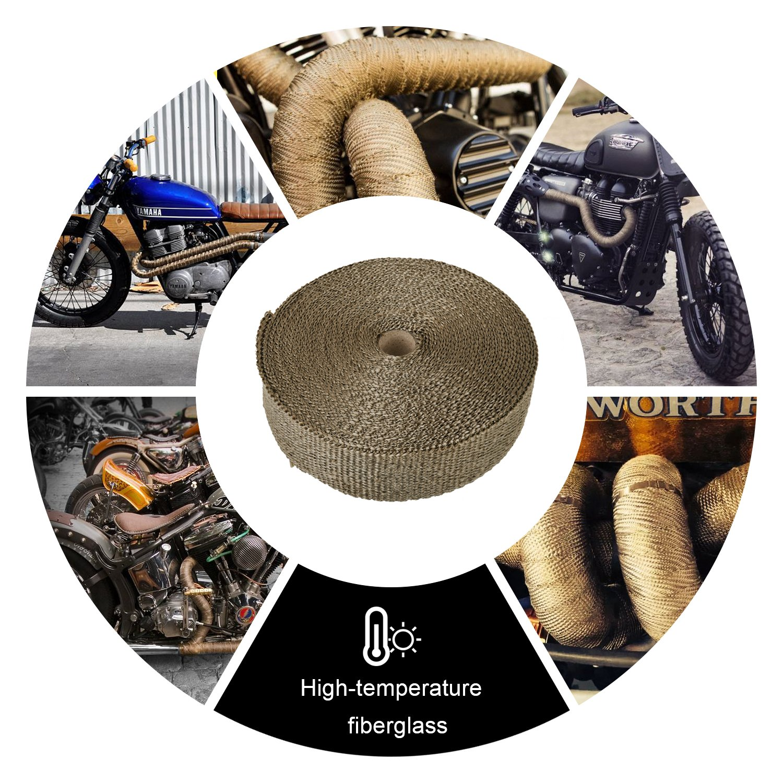 1 Inch HM/&FC Titanium Exhaust Wrap Fiberglass Heat Wrap 50 Feet L W