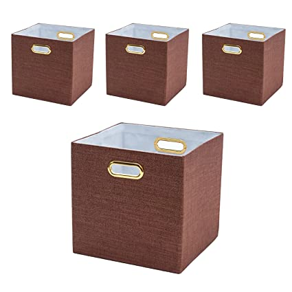 Bon BAIST Cubby Storage Bins,Gold Canvas Decorative Foldable Cube Storage Bins  Baskets For Toys Clothes