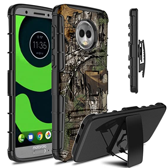 big sale 4bc73 dca12 Moto G6 Case, Venoro Heavy Duty Shockproof Armor Holster Defender Full Body  Rugged Protective Case Cover with Kickstand and Belt Swivel Clip for ...
