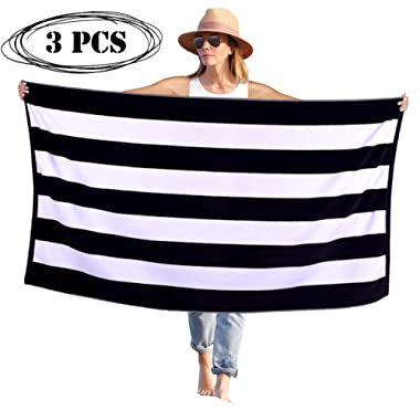 Peach B&C - Beach Towel Cabana Terry Velour Soft Turkish Cotton - Extra Absorbent - Quick Fast Drying - Sand Free - Perfect for Beach Bath Travel Pool Sports Spa Swimming (3, Black)