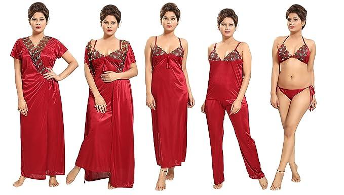665dee0a27 Tucute Women s Satin Nightwear Set of 6 Pcs Nighty