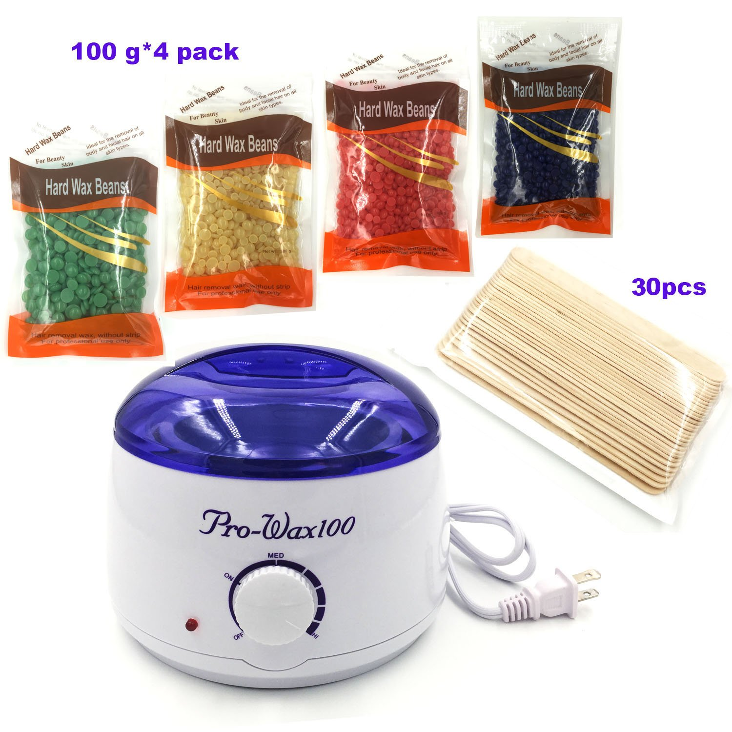 [2018 UPGRADED] Wax Warmer Electric with 4 Packs Hard Wax Beans and 30 Applicator Sticks Home Waxing Kit (blue)
