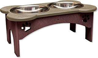 """product image for DutchCrafters 8"""" Tall Raised Dog Double Food Bowl Poly Tray (Weathered Wood Top & Cherry Wood Base)"""