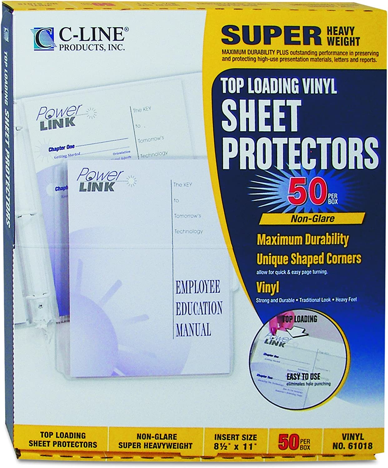 Business Source Non-Glare Top-Loading Sheet Protectors Box of 50
