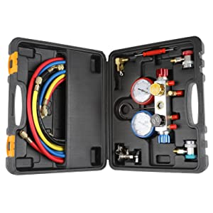 4 Way AC Diagnostic Manifold Gauge Set for Freon Charging and Vacuum Pump Evacuation, Fits R134A R410A and R22 Refrigerants, with 5FT Hose, 3 ACME Tank Adapters, Adjustable Couplers and Can Tap