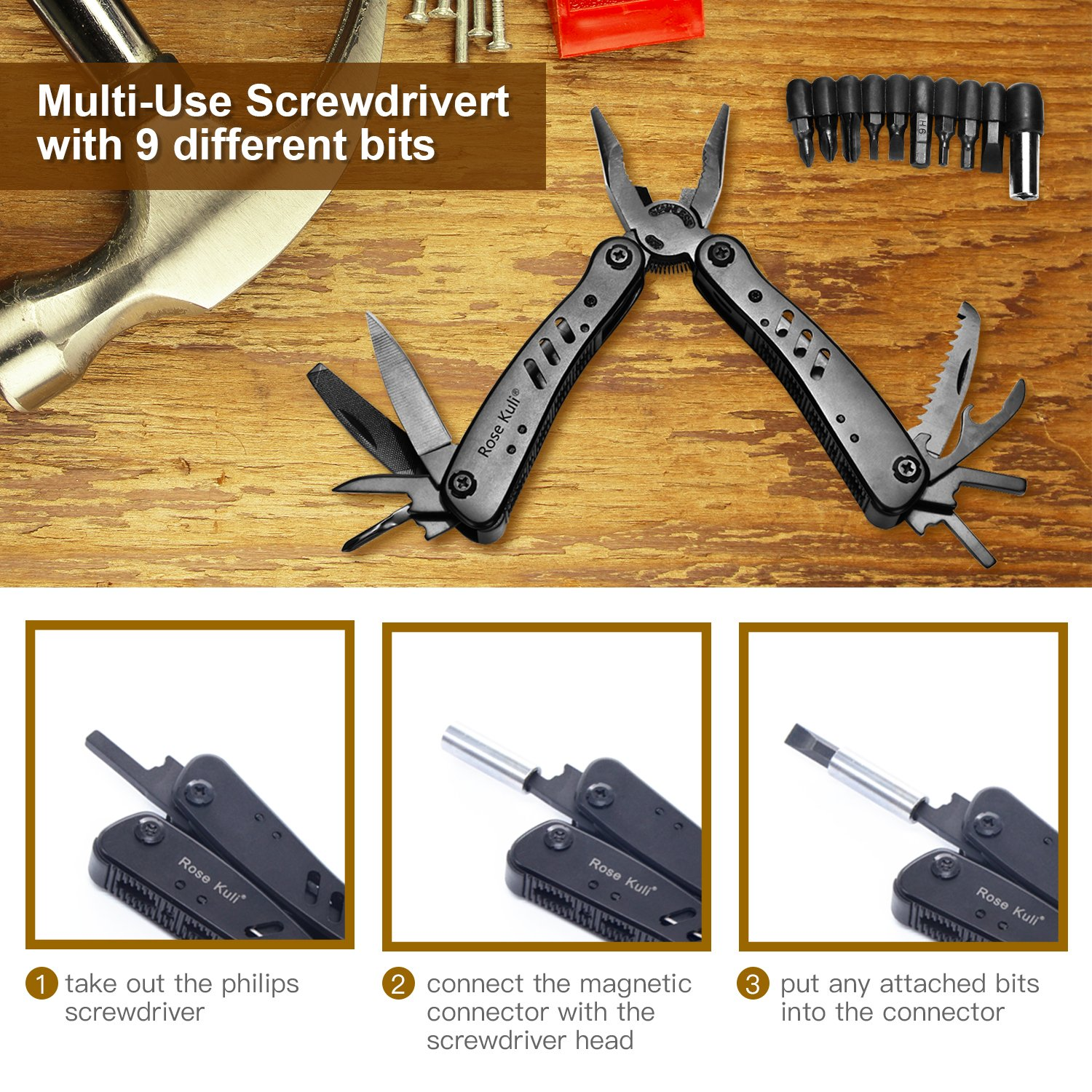 Rose Kuli Multitool Knife Pliers 12 in 1 Portable Pocket Multifunctional Multi Tools with Folding Saw Wire Cutter Mini Screwdrivers Set For Outdoor Camping Survival by ROSE KULI (Image #4)