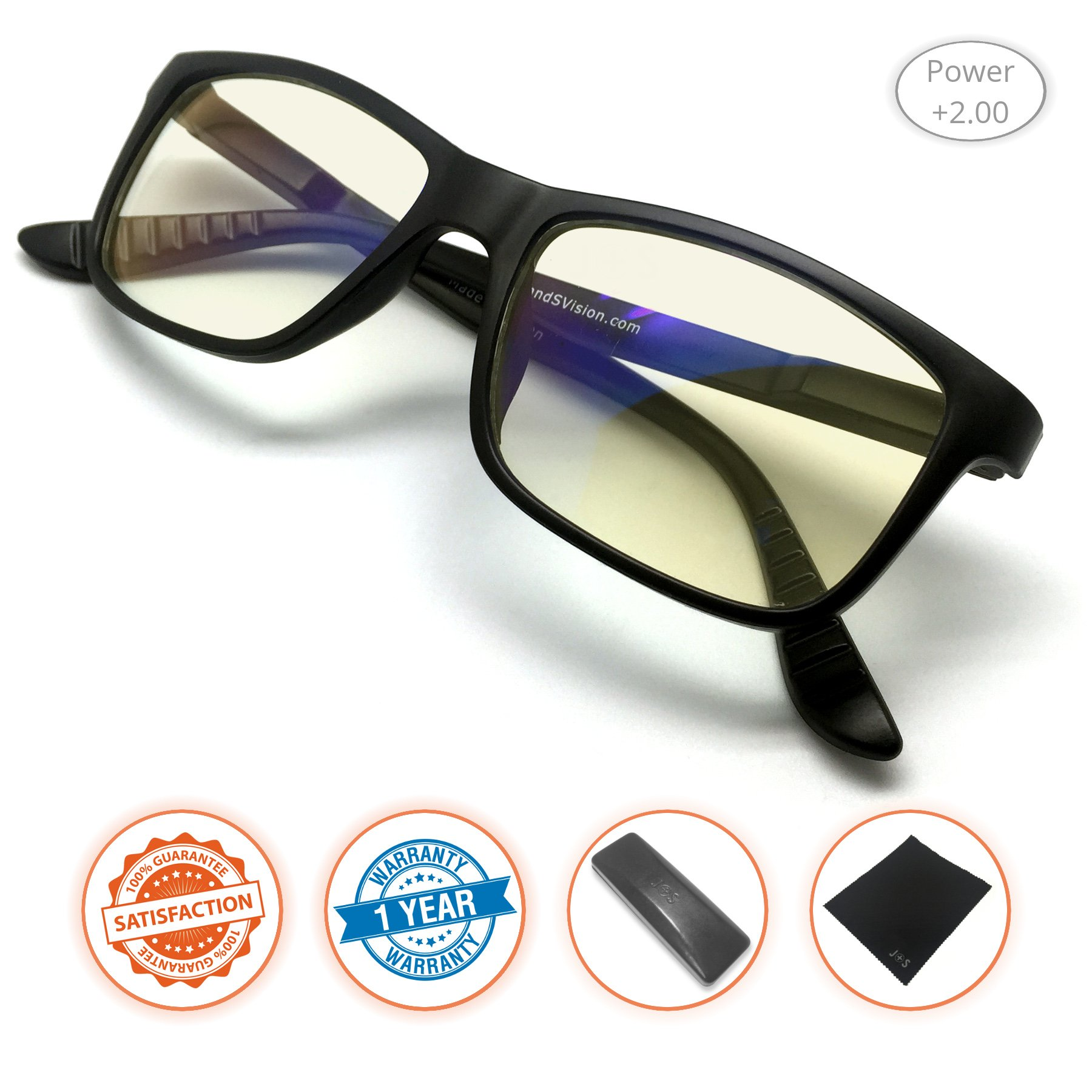 a68567de2a5 Amazon.com  J+S Vision Reading Glasses with Anti Blue Light function ...