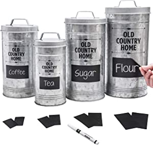 Farmhouse Kitchen Canisters Set by Saratoga Home - Removable Chalkboard Labels and Marker Included, Set of 4 Airtight Nesting Galvanized Containers for Sugar, Flour, Coffee, Tea or Rice Storage