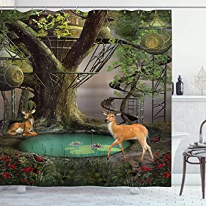 """Ambesonne Nature Shower Curtain, Abstract Fairtale Scene with Tree House Lanterns Pond and Deer in Forest Print, Cloth Fabric Bathroom Decor Set with Hooks, 70"""" Long, Brown Red"""