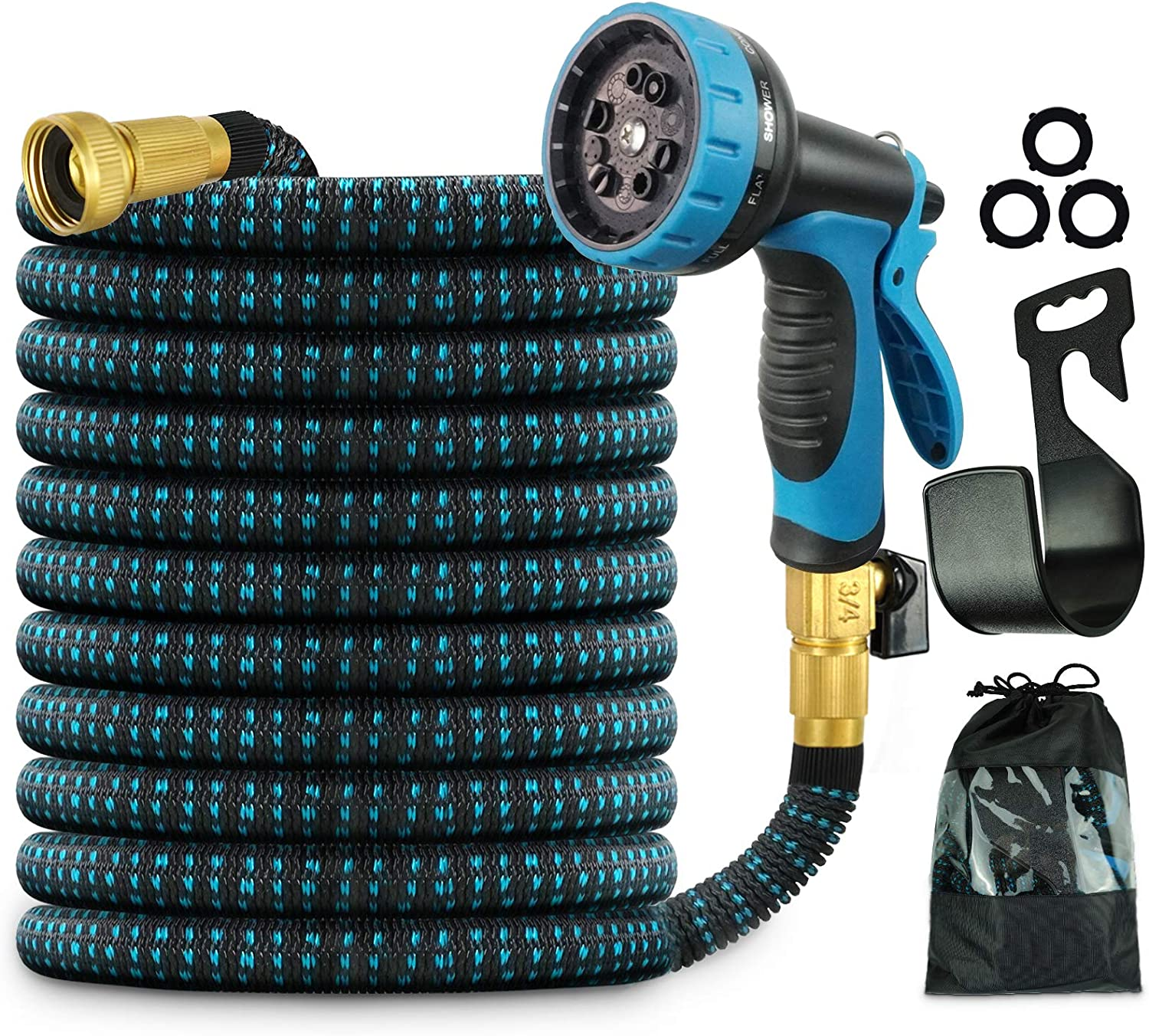 Beaulyn Expandable Garden Hose, 50ft Flexible Water Hose with 10 Function Spray Nozzle, 3750D & 3/4 Inch Solid Brass Connectors Lightweight Expanding Hose, Best Choice for Watering and Washing