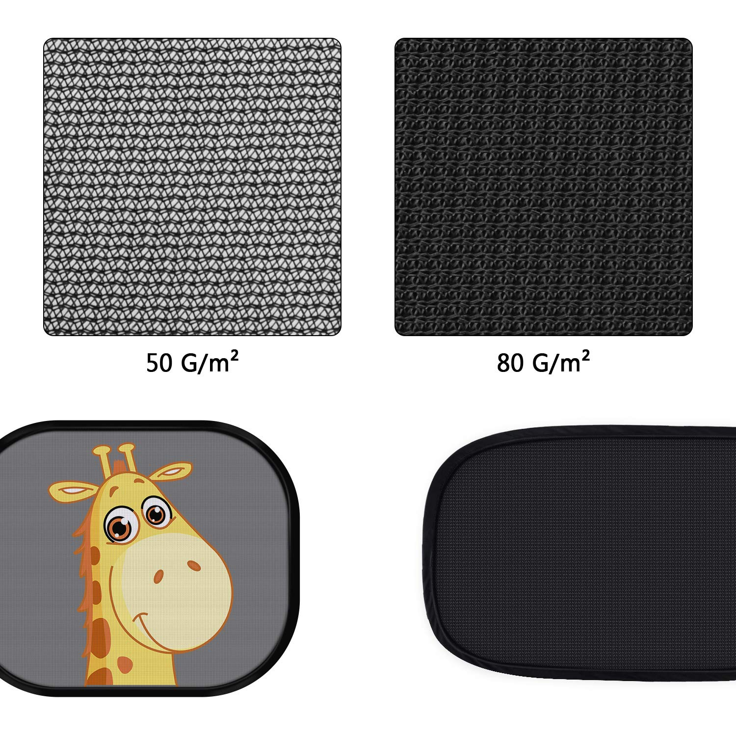 4 Pack Car Side Rear Window Sun Shade- Protect Kids from Sun Glare and Sunburning-2 Semi-Transparent Sunshades /& 2 Transparent Giraffe Cartoon Shades-Travel E-Book PEYOU Car Window Shades for Baby,