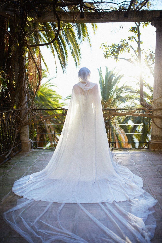 541911ab54ebf Wedding bridal cloak white ivory cream vanille chiffon (polyester) cape  with hood handfasting Medieval Wedding Cape: Amazon.co.uk: Handmade