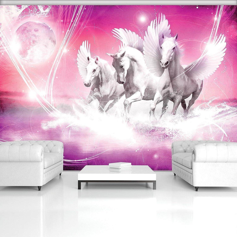 DekoShop Fototapete Vlies Tapete Moderne Wanddeko Wandtapete Pegasus auf rosa Hintergrund AMD589VEXXXL VEXXXL (416cm. x 254cm.)