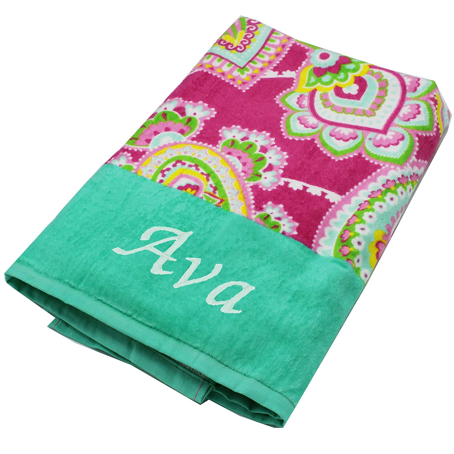 Personalized Beach Towels Monogrammed Gifts For Kids Her Him Custom Embroidered Towel Paslies