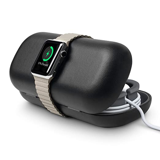 Twelve South Time Porter For Apple Watch, Black | Apple Watch Accessory Travel Case + Bedside Charging Stand by Twelve South