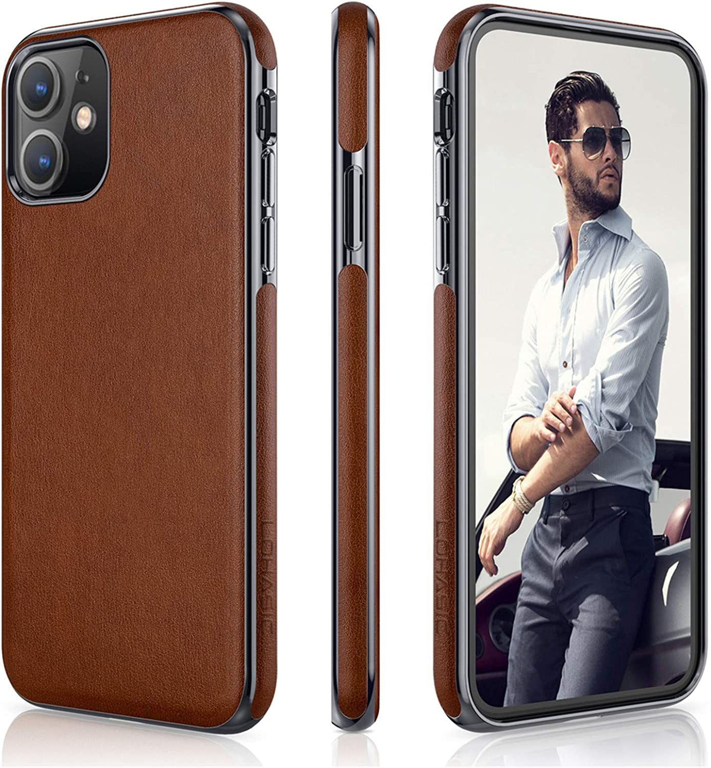 LOHASIC for iPhone 11 Case, Slim Business PU Leather Thin Elegant TPU Bumper Soft Anti-Slip Scratch Resistant Full Body Protective Phone Cover Cases Compatible with iPhone 11(2019) 6.1