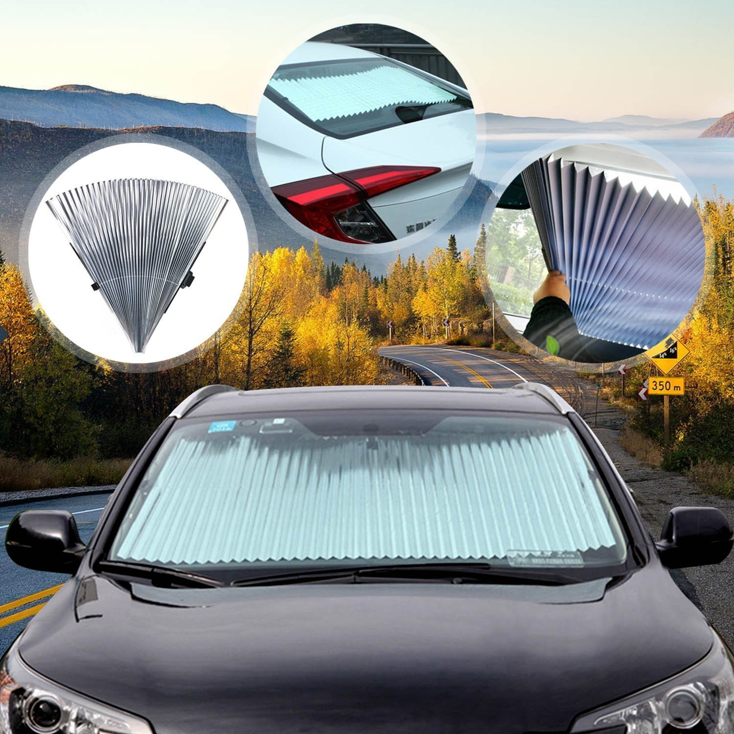 FLY5D Universal Fit Car Windshield Glass Sun Shade Sunlight Protection UV Cover Set DIY Keep Vehicle Cool Block Sunshade Cover Front Retractable