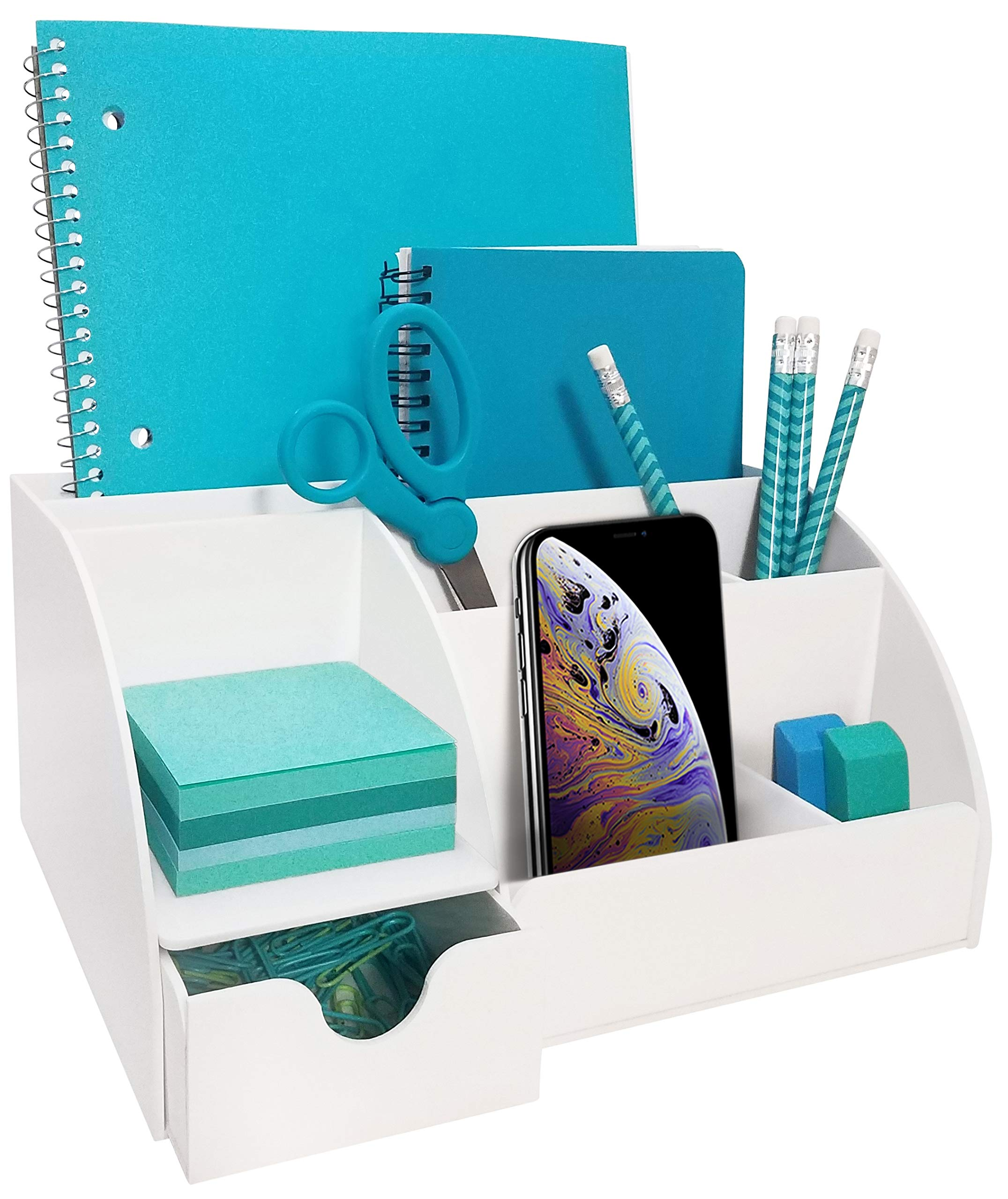 White Acrylic Office Desk Organizer with Drawer, 9 Compartments, All in One Office Supplies and Cool Desk Accessories Organizer, Pen Holder, Enhance Your Office Decor with This Desktop Organizer by My Space Organizers
