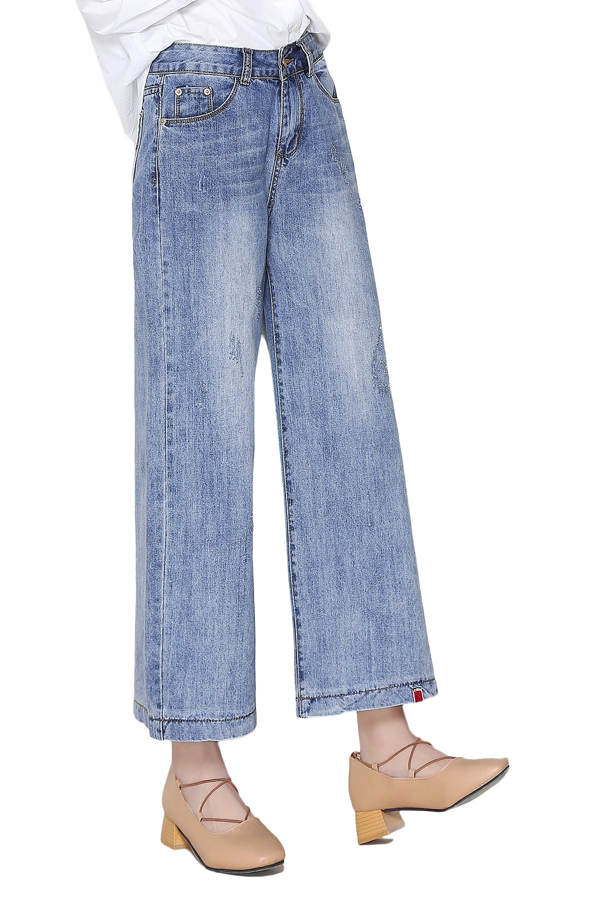 Oriarm Denim Wide Leg Crop Jeans for Women Fade to Blue Washed Bleach Ripped Loose (12=Waist:33.1''/Hip:43.3'')