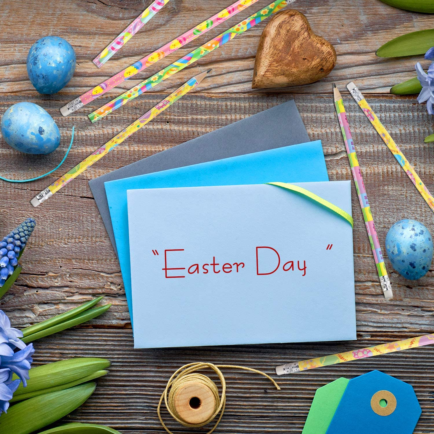 Outus 48 Pieces Easter Pencils with Eraser Holiday Pencils Easter Wood Pencils with Easter Elements for Easter Gifts Party Reward Supplies 8 Styles