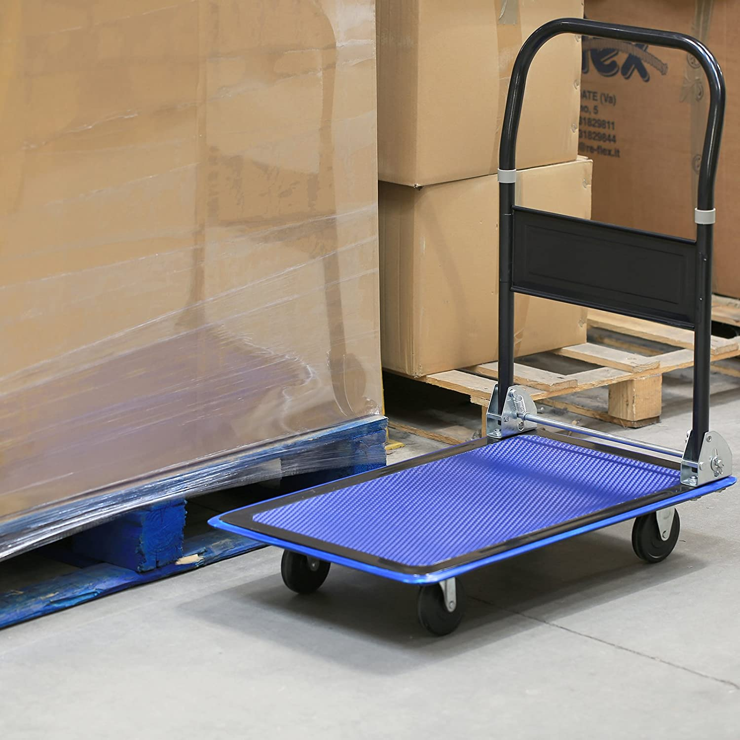 Qualtex Platform Hand Trolley Sack Truck Warehouse Office Garden Hand Trolley Cart Barrow 150kg