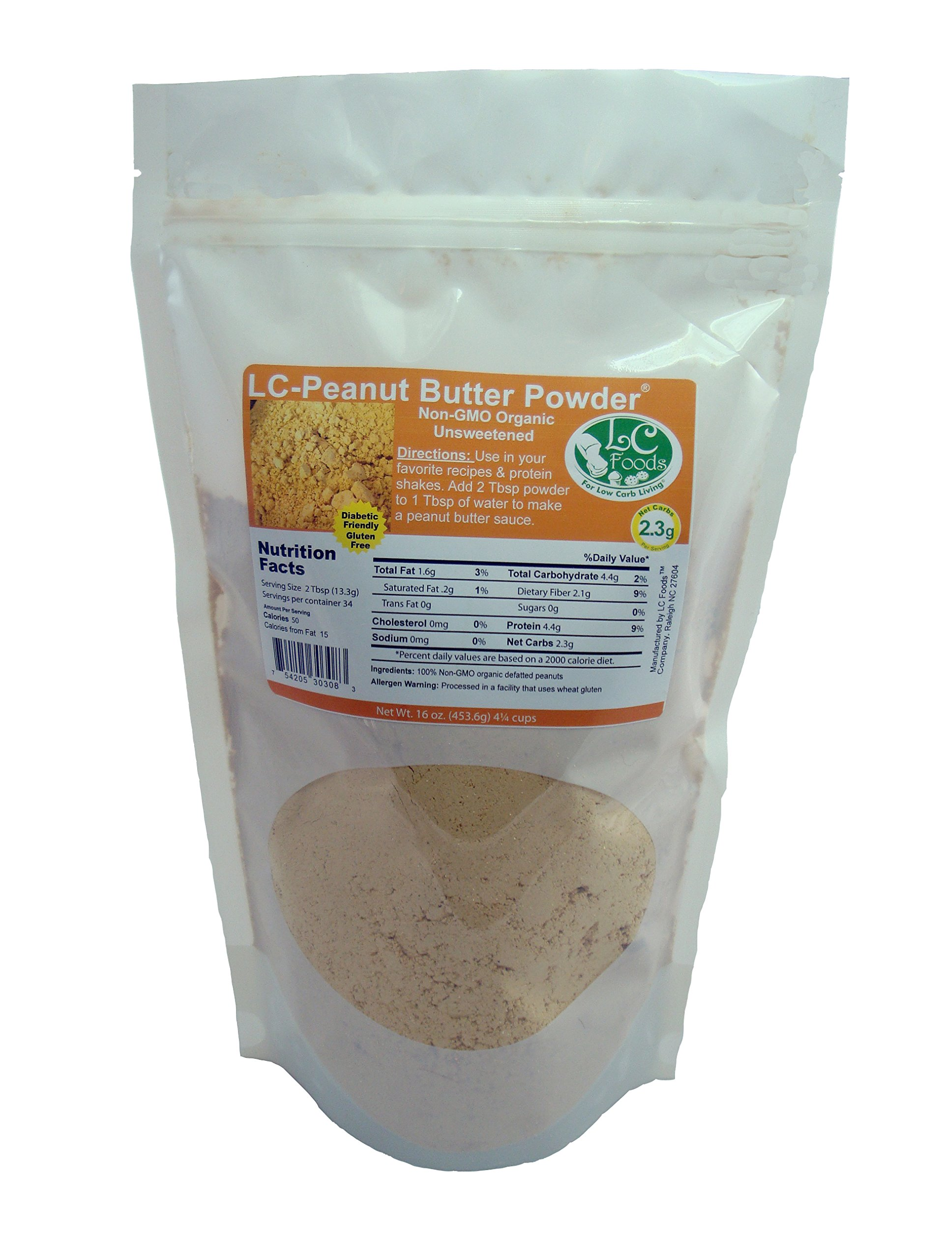 Low Carb Peanut Butter Powder - LC Foods - Organic - Gluten Free - No Sugar - Diabetic Friendly - 16 oz