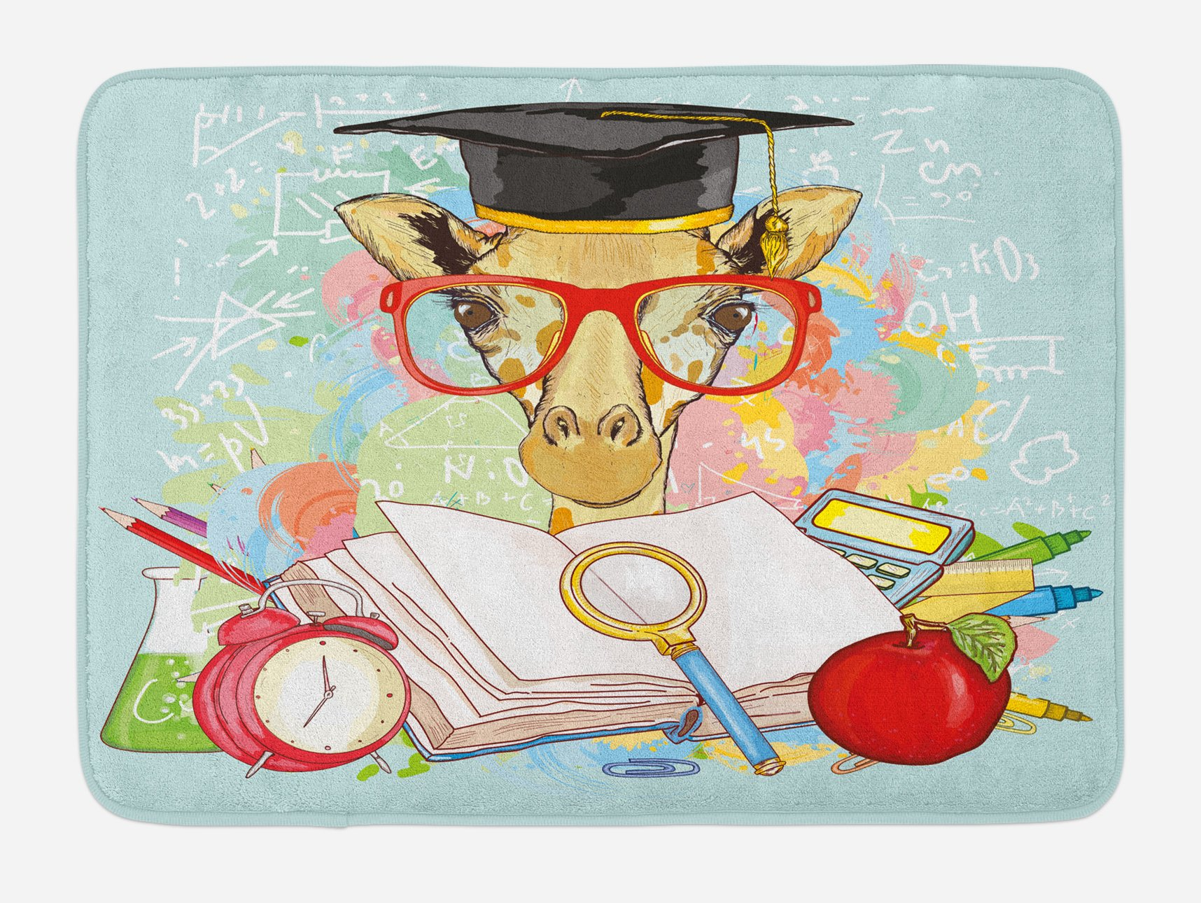 Ambesonne Graduation Bath Mat, Hipster Giraffe Animal with Glasses and Cap Geek Student in Education School, Plush Bathroom Decor Mat with Non Slip Backing, 29.5 W X 17.5 W Inches, Multicolor