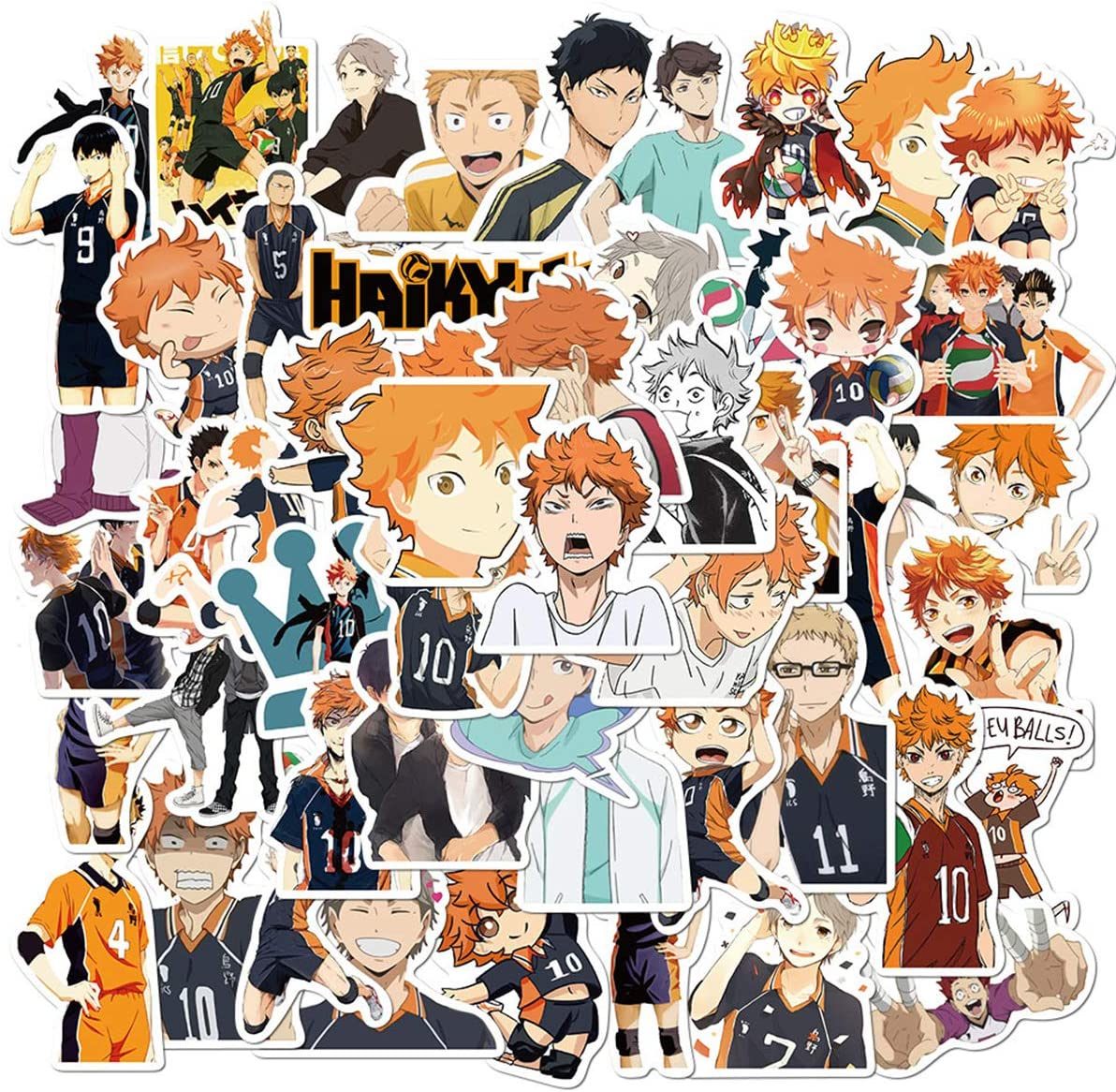 Haikyuu Anime Stickers 50 PCS for Laptop Water Bottle Luggage Snowboard Bicycle Skateboard Decal for Kids Teens Adult Waterproof Aesthetic Stickers (Haikyuu)