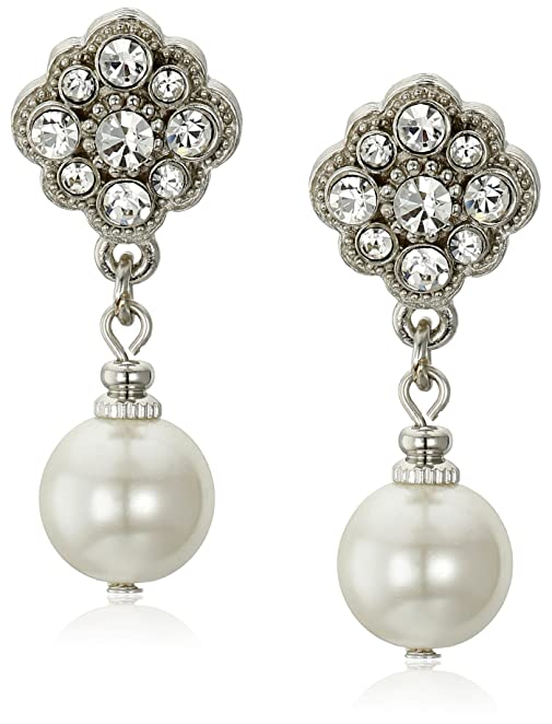 New 1920s Costume Jewelry- Earrings, Necklaces, Bracelets 1928 Jewelry Simulated Pearl and Crystal Drop Earrings $22.00 AT vintagedancer.com