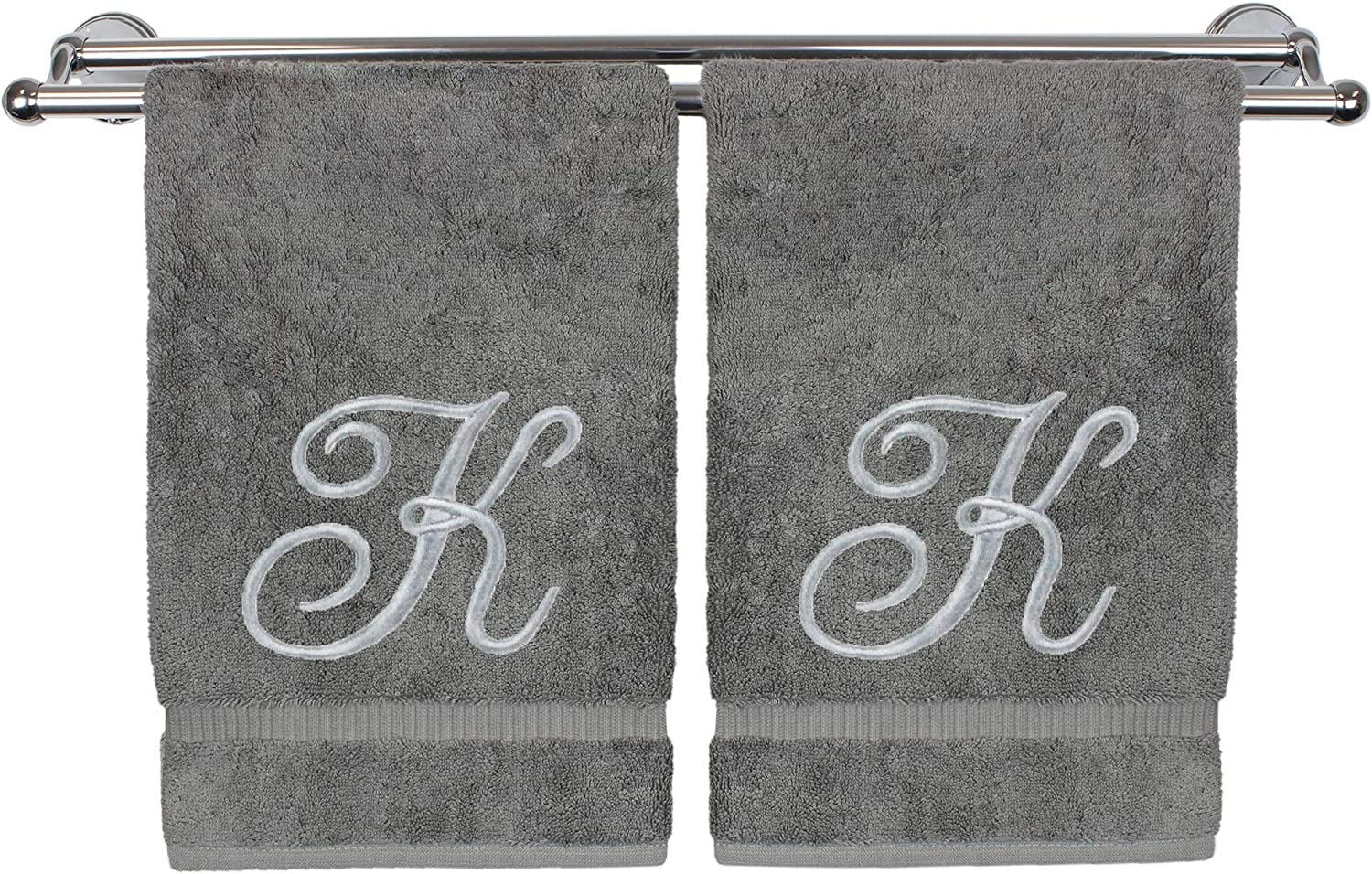 Monogrammed Hand Towel, Personalized Gift, 16 x 30 Inches - Set of 2 - Silver Embroidered Towel - Extra Absorbent 100% Turkish Cotton- Soft Terry Finish - for Bathroom, Kitchen and Spa- Script K Gray