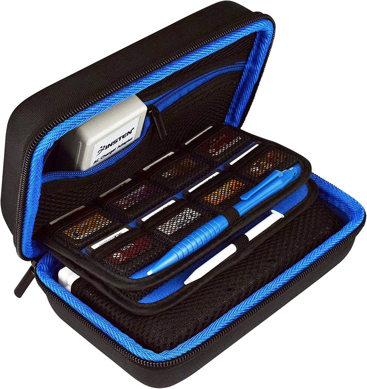 TAKECASE Hard Shell Carrying Case - Compatible with Nintendo 3DS XL and 2DS XL - Fits 16 Game Cards and Wall Charger - Includes Removable Accessories Pouch and Extra Large Stylus Dark Blue: Electronics