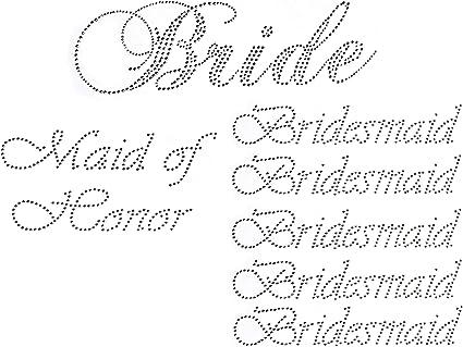 Glitter Gold Pack of 7 Vinyl Wedding Iron on Transfer 5 Bridesmaid 1 Bride 1 Maid of Honor