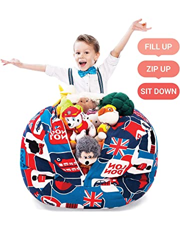 5 STARS UNITED Stuffed Animal Storage Bean Bag - Large Beanbag Chairs for  Kids - 90 64f2cb0ef438f