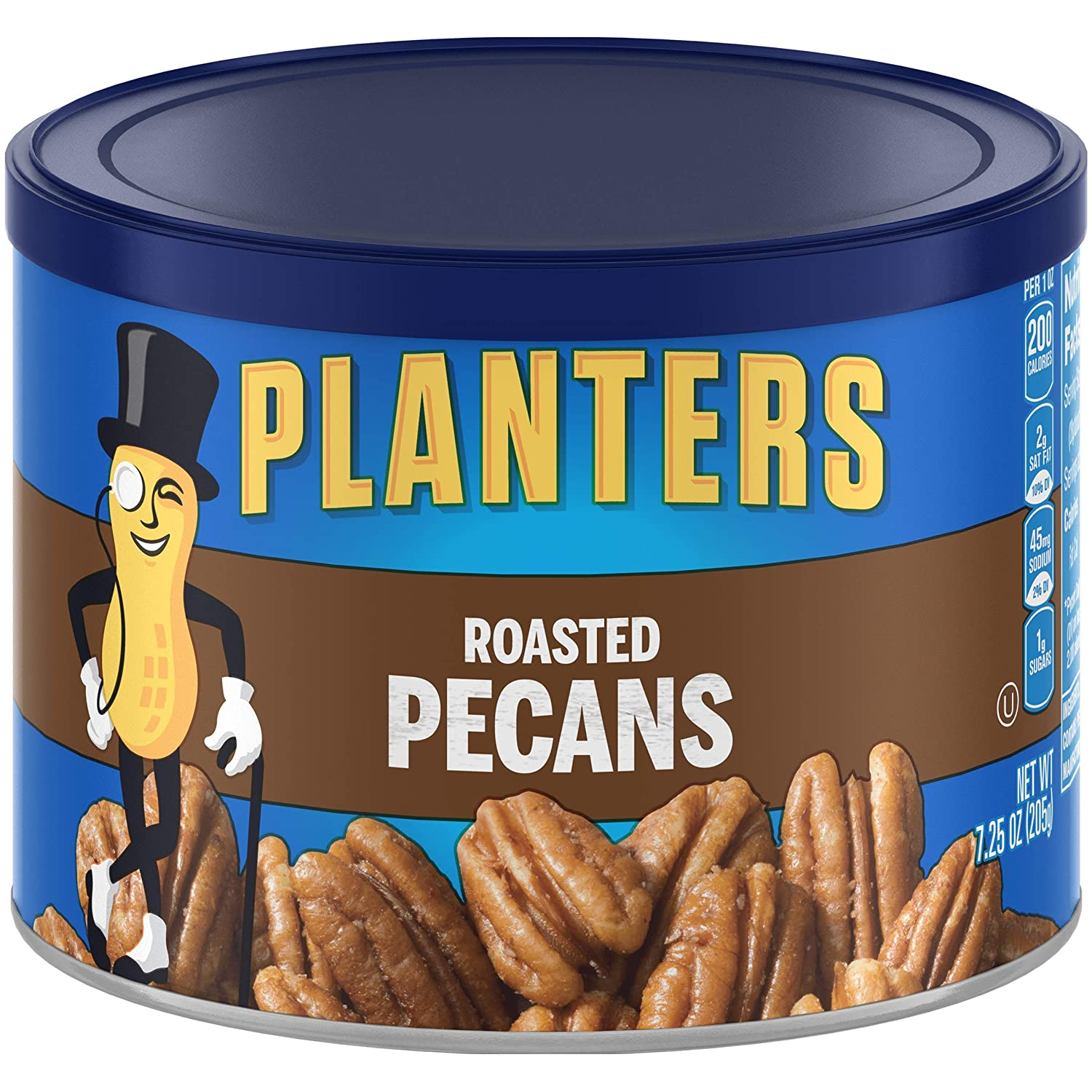 PLANTERS Roasted Pecans, 7.25 oz. Resealable Canister | Salted Pecans | Snacks for Adults | Kids Snacks | Vegan Snacks, Kosher