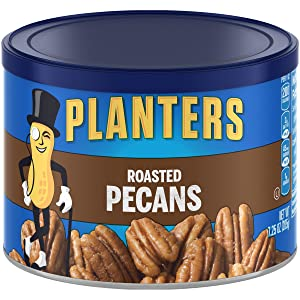 PLANTERS Roasted Pecans, 7.25 Oz. Resealable Canister - Salted Pecans - Snacks for Adults - Kids Snacks - Vegan Snacks, Kosher