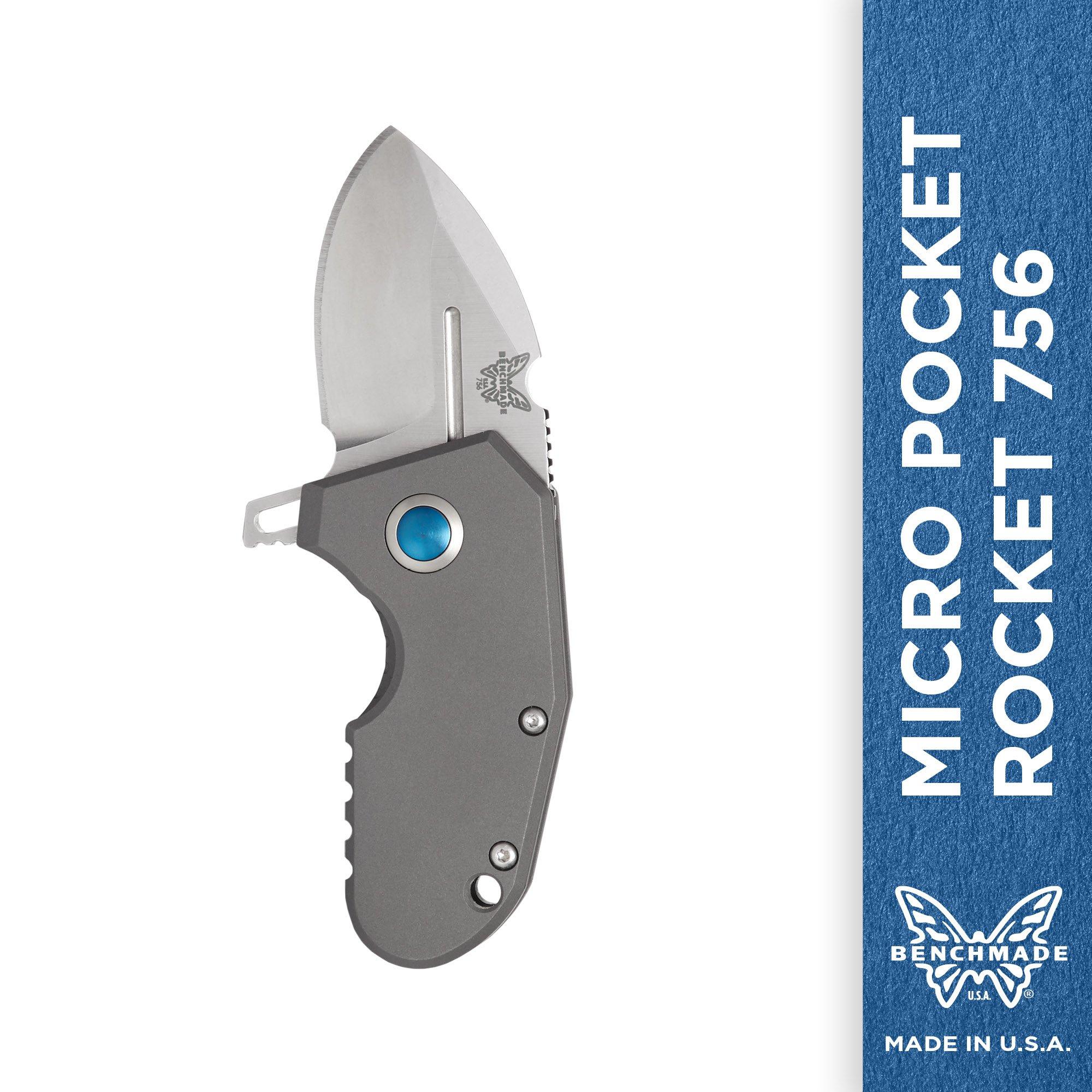 Benchmade - Micro Pocket Rocket 756 Tiny Pocket Knife, Drop-Point Blade, Plain Edge, Satin Finish, Gray Handle