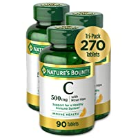 Vitamin C by Nature's Bounty, Vitamin Supplement with Rose Hips, Supports Immune Health, 500mg, 90 Tablets (Pack of 3)