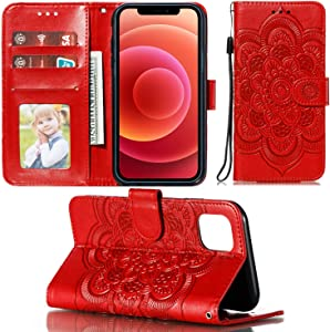UNKNOK Wallet Case for iPhone 12 Pro Max with Card Holder Slim Premium PU Leather Kickstand Embossed Mandala Flower Lanyard Flip Cover for iPhone 12 Pro Max 6.7 Inch