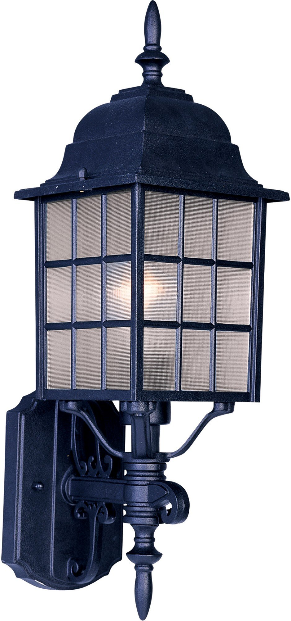 Maxim 1050BK North Church 1-Light Outdoor Wall Lantern, Black Finish, Clear Glass, MB Incandescent Incandescent Bulb , 100W Max., Dry Safety Rating, Standard Dimmable, Glass Shade Material, 5750 Rated Lumens