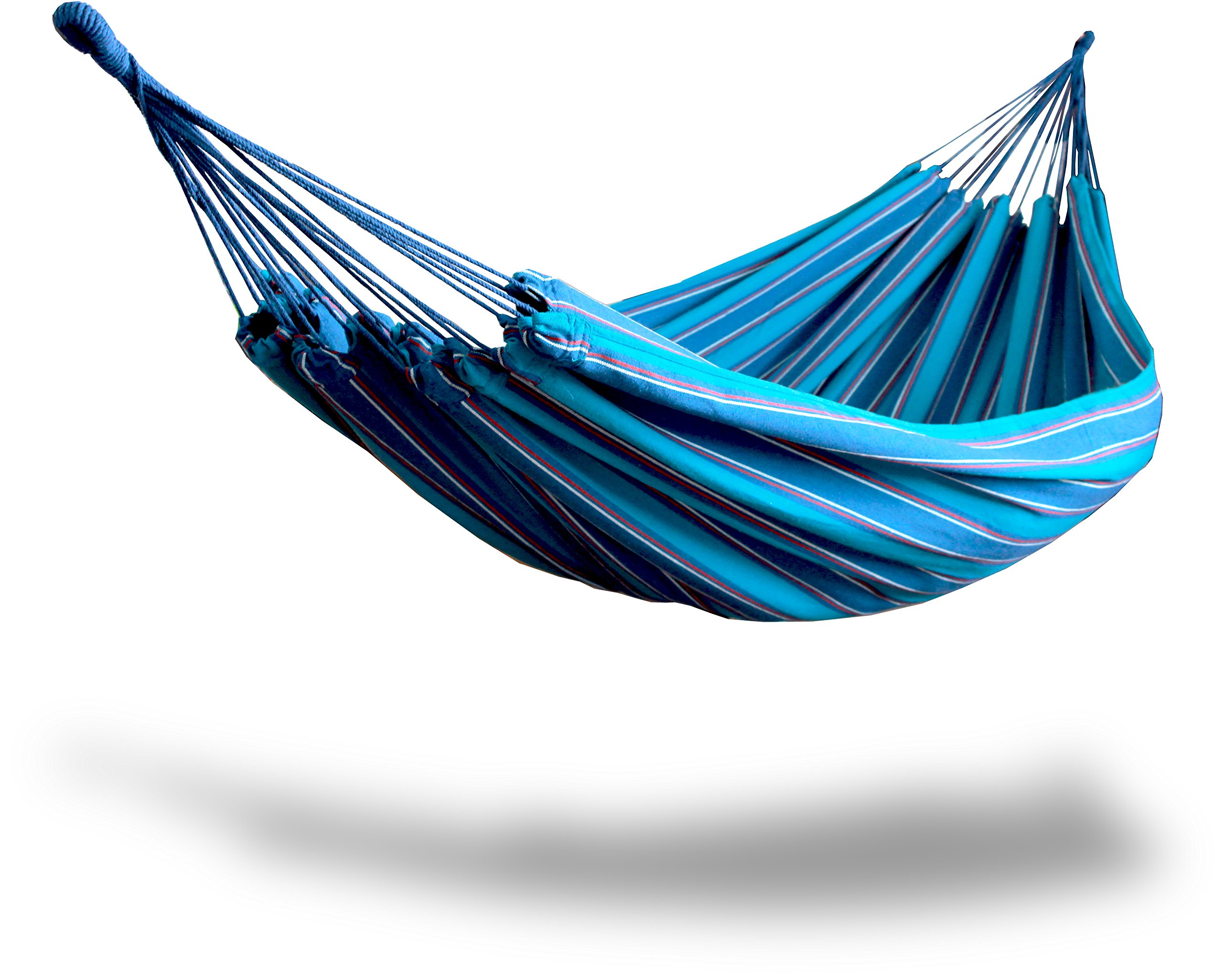 Hammaka Woven Brazilian Hammock, Blue - The cozy and snug wrap around design will roll up on the sides when lying lengthwise like any hammock without a spreader bar No assembly required (just hang) 330 lb. Weight capacity - patio-furniture, patio, hammocks - 81zpOLP7esL -