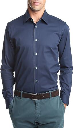 Caramelo, Camisa Vestir Slim Cuello Ingles, Hombre · Azul Marino, talla 50: Amazon.es: Ropa y accesorios