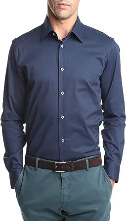 Caramelo, Camisa Vestir Slim Cuello Ingles, Hombre · Azul ...