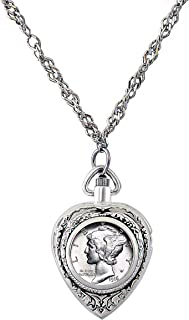 product image for American Coin Treasures Heart Watch Coin Pendant Necklace with Silver Mercury Dime Coin for Collectors | Silvertone 30-inch Rope Chain for Women | Lobster Claw Clasp | Elegant Gift Box Included